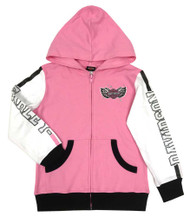 Harley-Davidson Little Girls' Colorblocked Knit Zippered Toddler Hoodie, Pink - Wisconsin Harley-Davidson