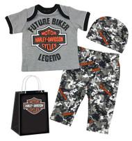 Harley-Davidson Baby Boys' Camo Newborn 3-piece Gift Set w/ Gift Bag 2551901 - Wisconsin Harley-Davidson