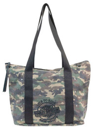 Harley-Davidson Women's B&S Embroidery Camo Print Canvas Tote WC1300S-CAMO - Wisconsin Harley-Davidson