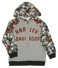 Harley-Davidson Little Boys' Camo Colorblocked Knit Zippered Hoodie, Gray - Wisconsin Harley-Davidson