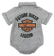 Harley-Davidson Baby Boys' B&S Short Sleeve Knit Creeper - Gray 3051907 - Wisconsin Harley-Davidson