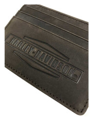 Harley-Davidson Men's Crazy Horse Front Pocket Leather Wallet MCH8489-BRNBLK - Wisconsin Harley-Davidson