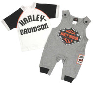 Harley-Davidson Baby Boys' B&S 2-Piece Knit Overall Set - Gray & White 3051911 - Wisconsin Harley-Davidson
