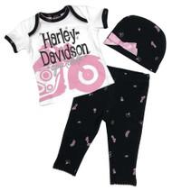 Harley-Davidson Baby Girls' Glittery Newborn 3-Piece Gift Set w/ Gift Bag, White - Wisconsin Harley-Davidson