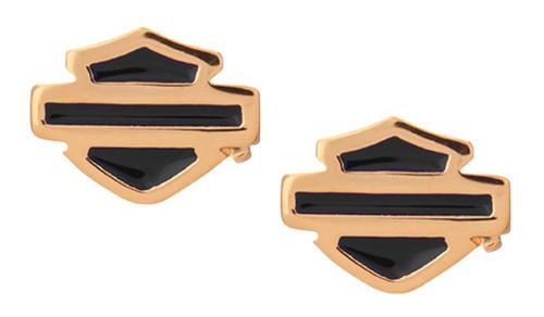 Harley-Davidson Women's Gold Plated Blue Enamel B&S Post Style Earrings HDE0485 - Wisconsin Harley-Davidson