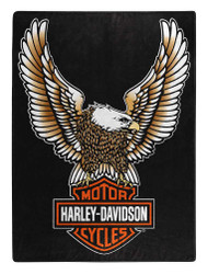 Harley-Davidson Fly High Large Raschel Throw Blanket, 60 x 80 inch NW117355 - Wisconsin Harley-Davidson