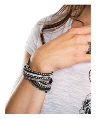 Women's Silver Studded with Bling Embellishment Black Faux Suede Bracelet 84066 - Wisconsin Harley-Davidson