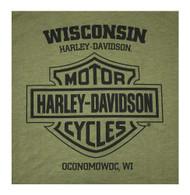 Harley-Davidson Men's Soaring Eagle Crew Neck Short Sleeve Tee - Military Green - Wisconsin Harley-Davidson