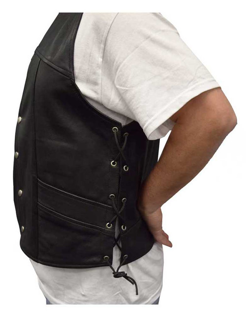 Redline Leather Men's Leather Side Laces Motorcycle Riding Vest, Black M-12 - Wisconsin Harley-Davidson