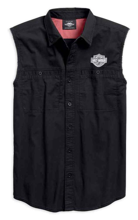Harley-Davidson Men's Flag Blowout Raw-Edge Sleeveless Shirt - Black 96766-19VM - Wisconsin Harley-Davidson