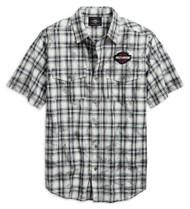 Harley-Davidson Men's Winged Logo Plaid Short Sleeve Shirt - White 96763-19VM - Wisconsin Harley-Davidson