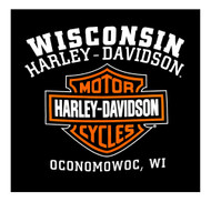 Harley-Davidson Men's Custom Iconic B&S Long Sleeve Crew-Neck Shirt - Black - Wisconsin Harley-Davidson