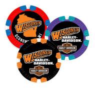 Harley-Davidson Custom Wisconsin Harley Poker Chip - Multiple Colors Available - Wisconsin Harley-Davidson