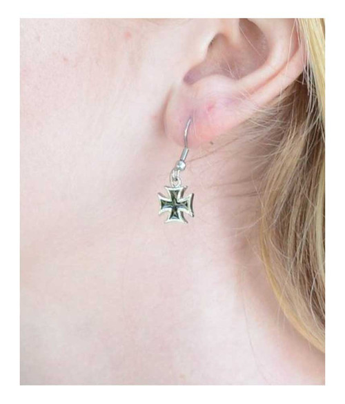 Biker Jewelry Women's Iron Cross French Wire Earrings - Stainless Steel SK1640 - Wisconsin Harley-Davidson