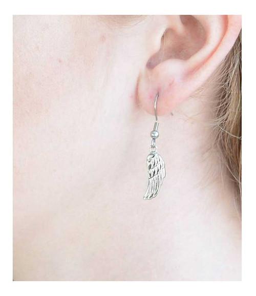 Biker Jewelry Women's Angel Wing French Wire Earrings - Stainless Steel SK1482 - Wisconsin Harley-Davidson
