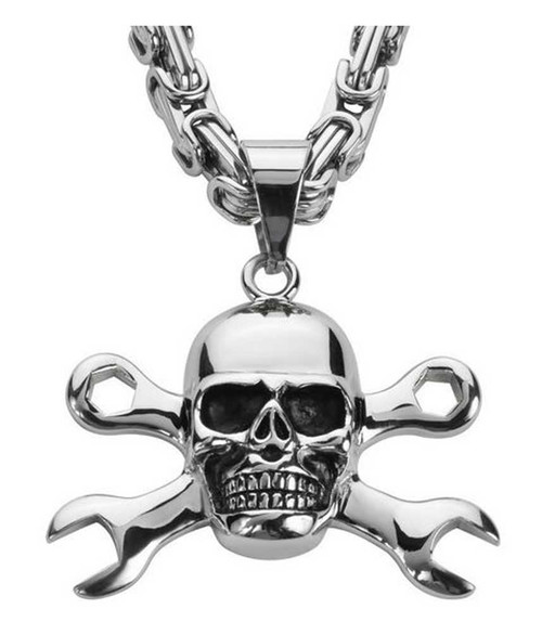 Biker Chain Jewelry Men's Skull & Wrenches 26in. Chain Necklace - Steel SK1424 - Wisconsin Harley-Davidson