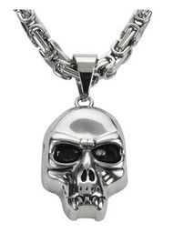 Biker Chain Jewelry Men's Skull Pendant w/ 26in. Chain Necklace - Steel SK1428 - Wisconsin Harley-Davidson