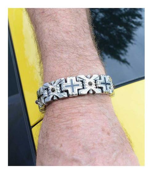 Biker Chain Jewelry Men's X & Cross Red Stone Bracelet - Stainless Steel SK1760 - Wisconsin Harley-Davidson
