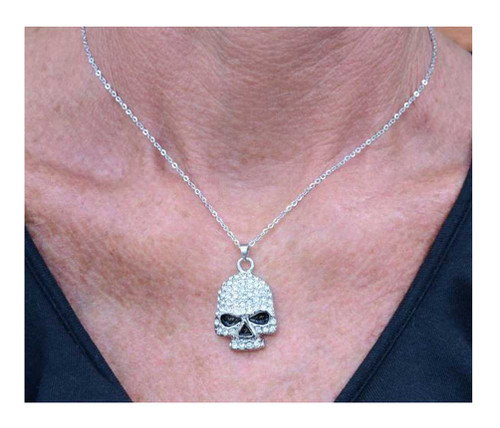 Biker Chain Jewelry Women's Bling Skull Necklace, 19in. - Stainless Steel SK1704 - Wisconsin Harley-Davidson