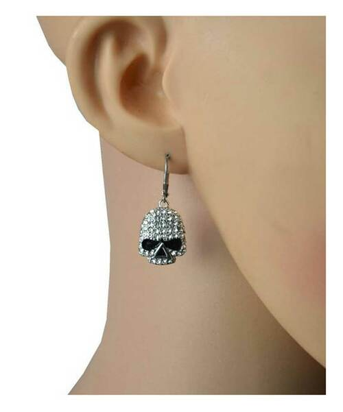 Biker Jewelry Womens Embellish Skull Lever Back Earrings, Stainless Steel SK2357 - Wisconsin Harley-Davidson