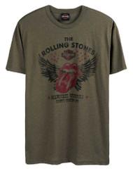 Harley-Davidson Men's Rolling Stones Winged Short Sleeve Crew T-Shirt - Green - Wisconsin Harley-Davidson