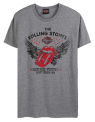 Harley-Davidson Men's Rolling Stones Winged Short Sleeve Crew T-Shirt - Gray - Wisconsin Harley-Davidson