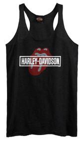 Harley-Davidson Women's Rolling Stones Mash Sleeveless Tank Top, Black Washed - Wisconsin Harley-Davidson