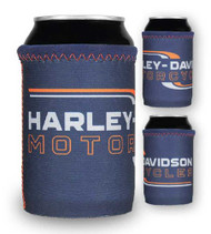 Harley-Davidson Lineation H-D Neoprene Can Wrap - Navy Blue & Orange CW34031 - Wisconsin Harley-Davidson