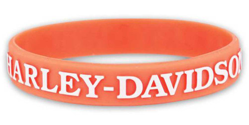 Harley-Davidson Women's V-Twin Power Silicone Wristband, Light Orange WB132538 - Wisconsin Harley-Davidson
