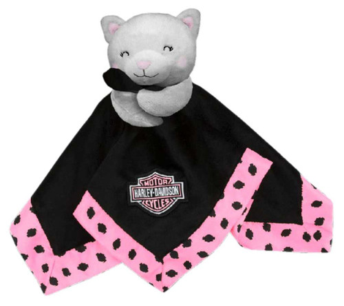 Harley-Davidson Kitty Cuddles 14 in. Plush Kitty Blanket, Black & Pink 9900907 - Wisconsin Harley-Davidson