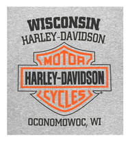 Harley-Davidson Men's Bar & Shield Logo Chest Pocket Short Sleeve T-Shirt - Gray - Wisconsin Harley-Davidson