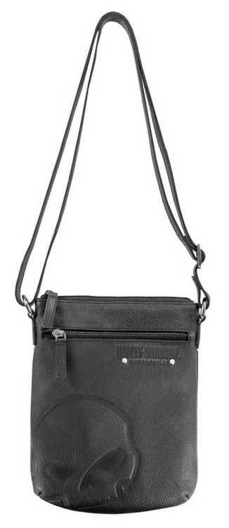 Harley-Davidson Womens Embossed Skull Crossbody Leather Purse SEW9016-BLACK - Wisconsin Harley-Davidson
