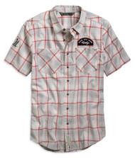 Harley-Davidson Men's Multi-Patch Plaid Slim Fit Short Sleeve Shirt 96799-19VM - Wisconsin Harley-Davidson