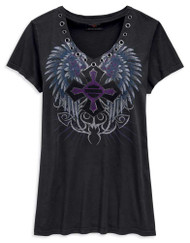 Harley-Davidson Women's Winged Cross Fashion Short Sleeve Tee, Black 96823-19VW - Wisconsin Harley-Davidson