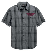 Harley-Davidson Men's Skull Target Plaid Short Sleeve Shirt, Gray 96768-19VM - Wisconsin Harley-Davidson