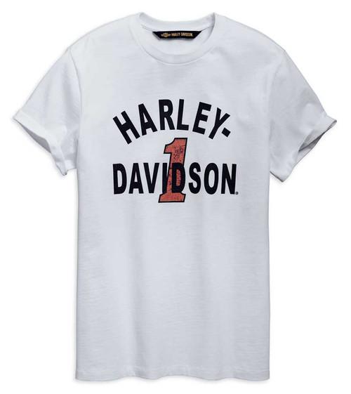 Harley-Davidson Men's Cracked Print Slim Fit Short Sleeve Tee, White 96790-19VM - Wisconsin Harley-Davidson