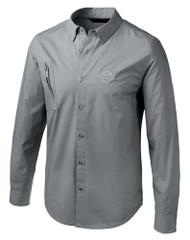 Harley-Davidson Men's Angled Pocket Stretch Long Sleeve Shirt, Gray 96776-19VM - Wisconsin Harley-Davidson