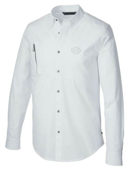 Harley-Davidson Men's Angled Pocket Stretch Long Sleeve Shirt, White 96879-19VM - Wisconsin Harley-Davidson