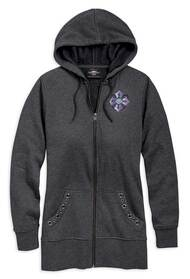 Harley-Davidson Women's Distressed Winged Cross Full Zip Hoodie 96851-19VW - Wisconsin Harley-Davidson