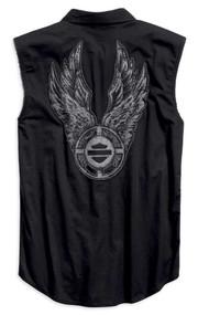 Harley-Davidson Men's Winged Target Blowout Sleeveless Shirt, Black 96769-19VM - Wisconsin Harley-Davidson
