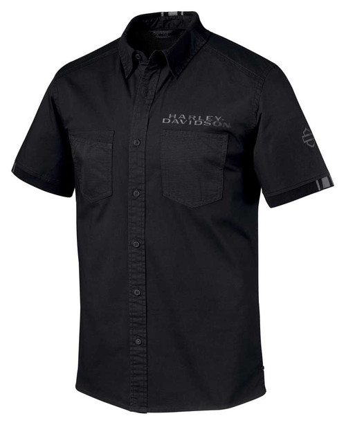 Harley-Davidson Men's Performance Mesh Stretch Short Sleeve Shirt 96650-19VM - Wisconsin Harley-Davidson