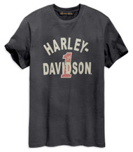Harley-Davidson Men's Cracked Print Short Sleeve Tee - Washed Black 96002-19VM - Wisconsin Harley-Davidson