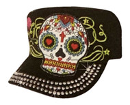 That's A Wrap Womens Bling & Embroidered Sugar Skull Cadet Cap, Black CC2931-BLK - Wisconsin Harley-Davidson