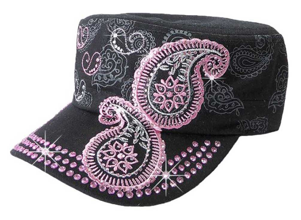 That's A Wrap Women's Bling & Embroidered Pink Paisley Cadet Cap CC2611-BLK