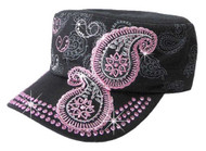 That's A Wrap Women's Bling & Embroidered Pink Paisley Cadet Cap CC2611-BLK - Wisconsin Harley-Davidson