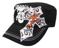 That's A Wrap Women's Crystal Embellished Double Cross Cadet Cap CC1425-BLK/ORG - Wisconsin Harley-Davidson