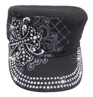 That's A Wrap Women's Crystal Embellished Maltese Cross Cadet Cap CC1328-BLACK - Wisconsin Harley-Davidson