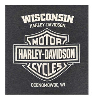 Harley-Davidson Men's Engine Power Short Sleeve Crew Neck T-Shirt, Heather Blue - Wisconsin Harley-Davidson