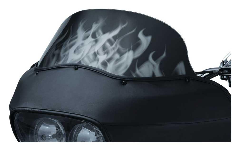 Kuryakyn Motorcycle Airmaster Flame Graphic Windshield - Smoke Tint KU-1821