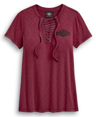 Harley-Davidson Women's Freedom Laced Neckline Short Sleeve Tee - Red 99045-20VW - Wisconsin Harley-Davidson